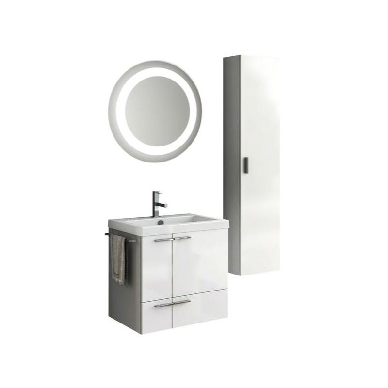 ACF by Nameeks ANS238 New Space 23-6\/15 Wall Mounted Vanity Set with Wood Cabin Glossy White Fixture Double