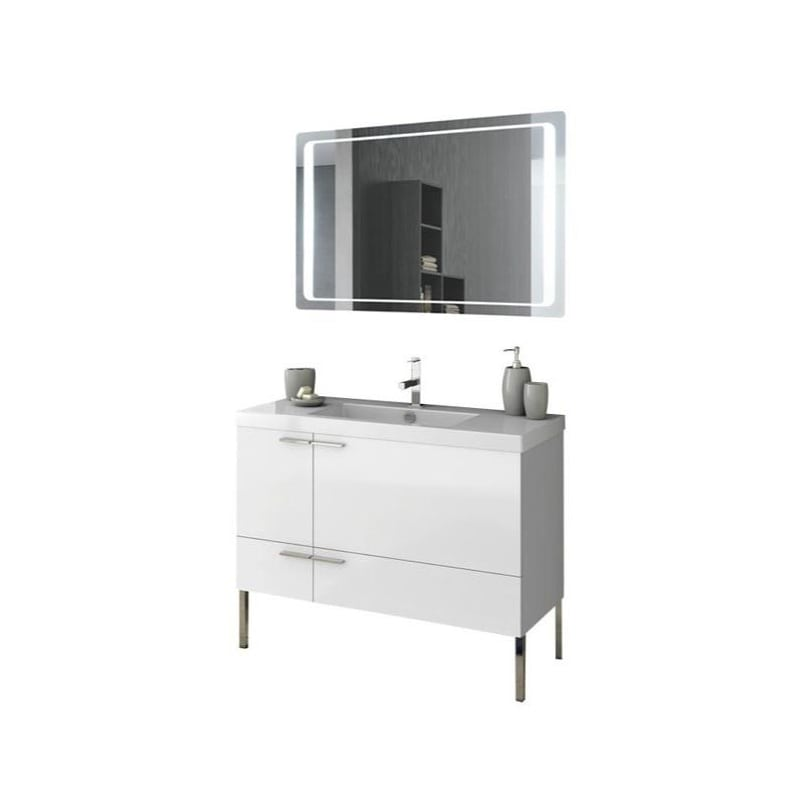 ACF by Nameeks ANS248 New Space 39-1\/5 Floor Standing Vanity Set with Wood Cabi Glossy White Fixture Double