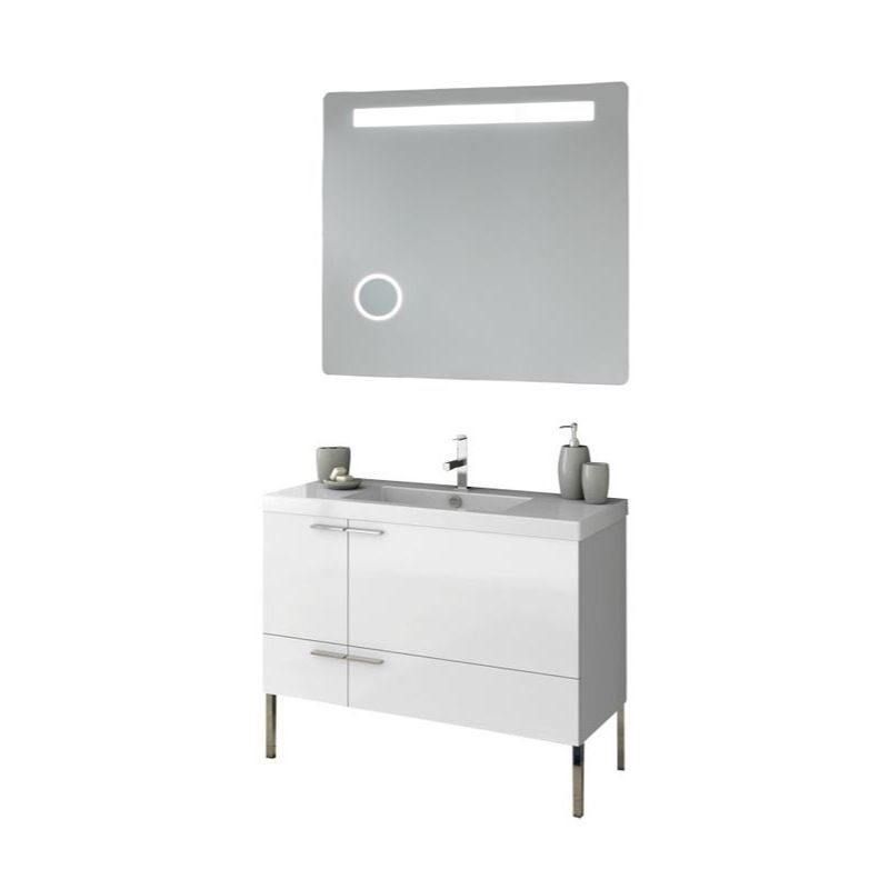 ACF by Nameeks ANS249 New Space 39-1\/5 Floor Standing Vanity Set with Wood Cabi Glossy White Fixture Double