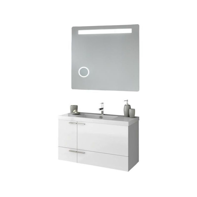 ACF by Nameeks ANS251 New Space 39-1\/5 Wall Mounted Vanity Set with Wood Cabine Glossy White Fixture Single