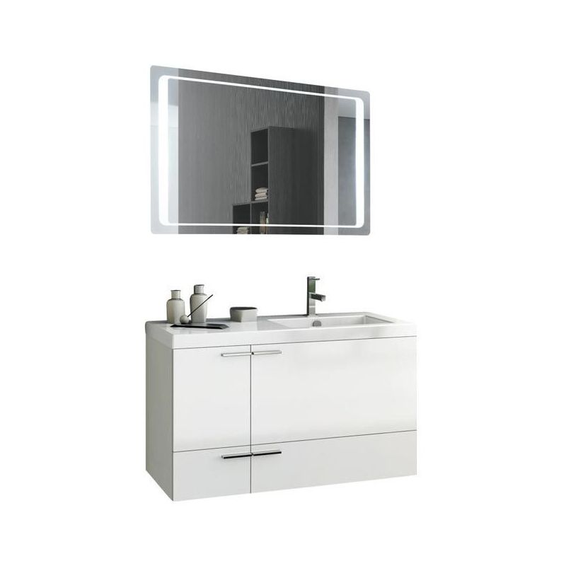 ACF by Nameeks ANS254 New Space 39-1\/5 Wall Mounted Vanity Set with Wood Cabine Glossy White Fixture Double