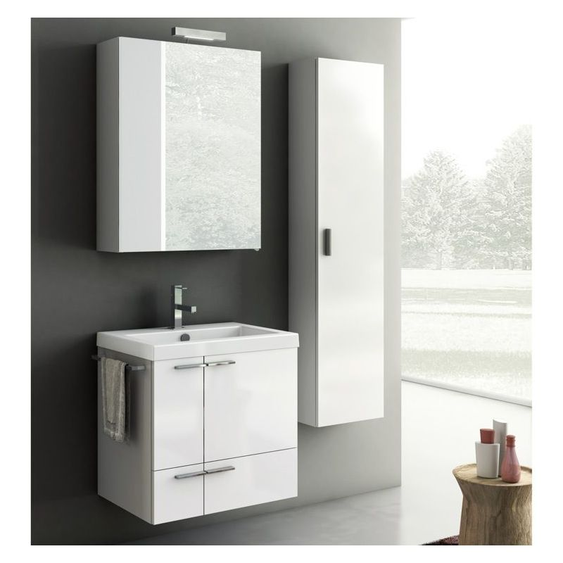 ACF by Nameeks ANS27 New Space 23-6\/15 Wall Mounted Vanity Set with Wood Cabine Glossy White Fixture Double