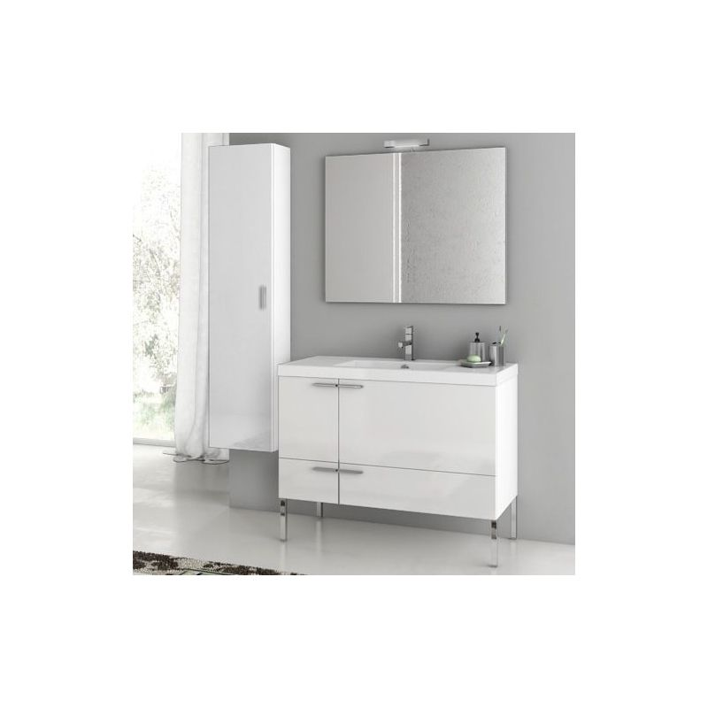 ACF by Nameeks ANS28 New Space 39-1\/5 Floor Standing Vanity Set with Wood Cabin Glossy White Fixture Single