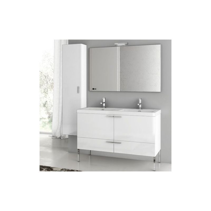 ACF by Nameeks ANS29 New Space 47 Floor Standing Vanity Set with Wood Cabinet, Glossy White Fixture Single