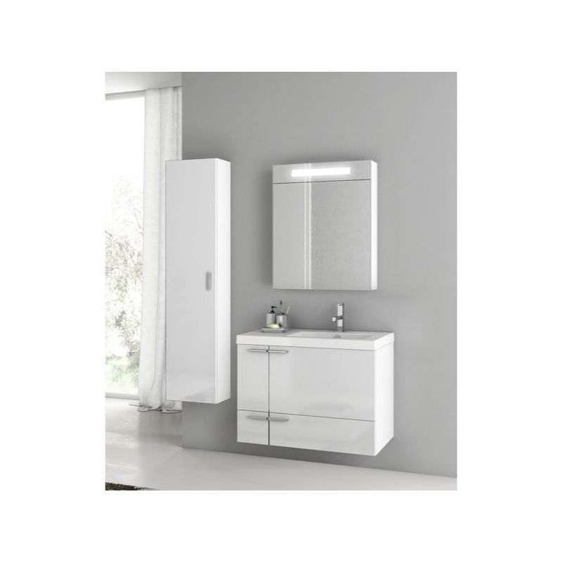ACF by Nameeks ANS307 New Space Wall Mounted Vanity Set with Wood Cabinet, Ceram Glossy White Fixture Single