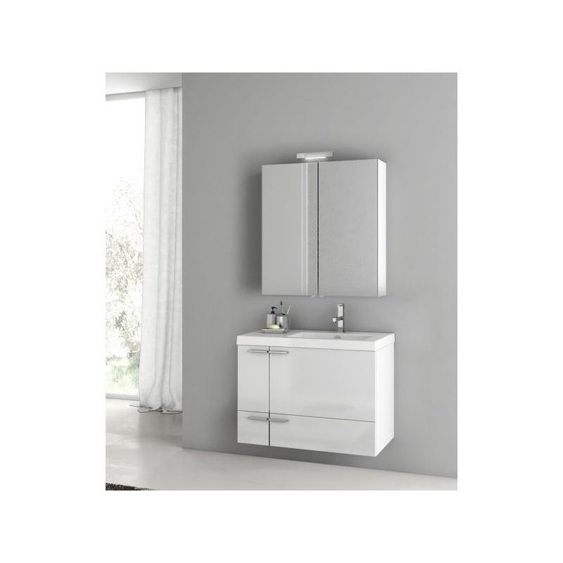 ACF by Nameeks ANS310 New Space Wall Mounted Vanity Set with Wood Cabinet, Ceram Glossy White Fixture Single