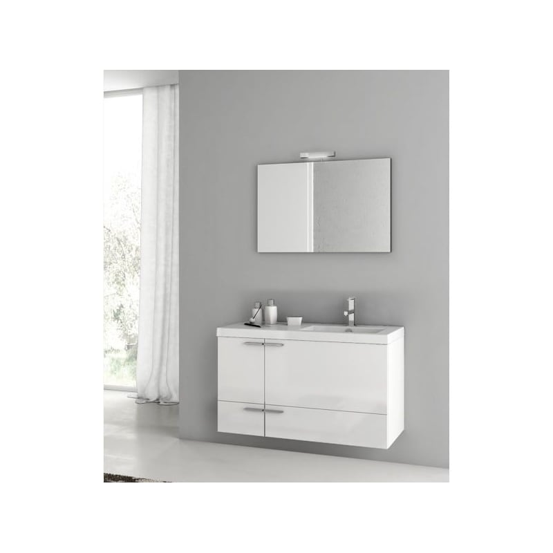 ACF by Nameeks ANS324 New Space Wall Mounted Vanity Set with Wood Cabinet, Ceram Glossy White Fixture Single