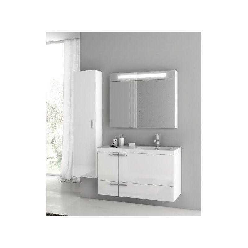 ACF by Nameeks ANS325 New Space Wall Mounted Vanity Set with Wood Cabinet, Ceram Glossy White Fixture Single