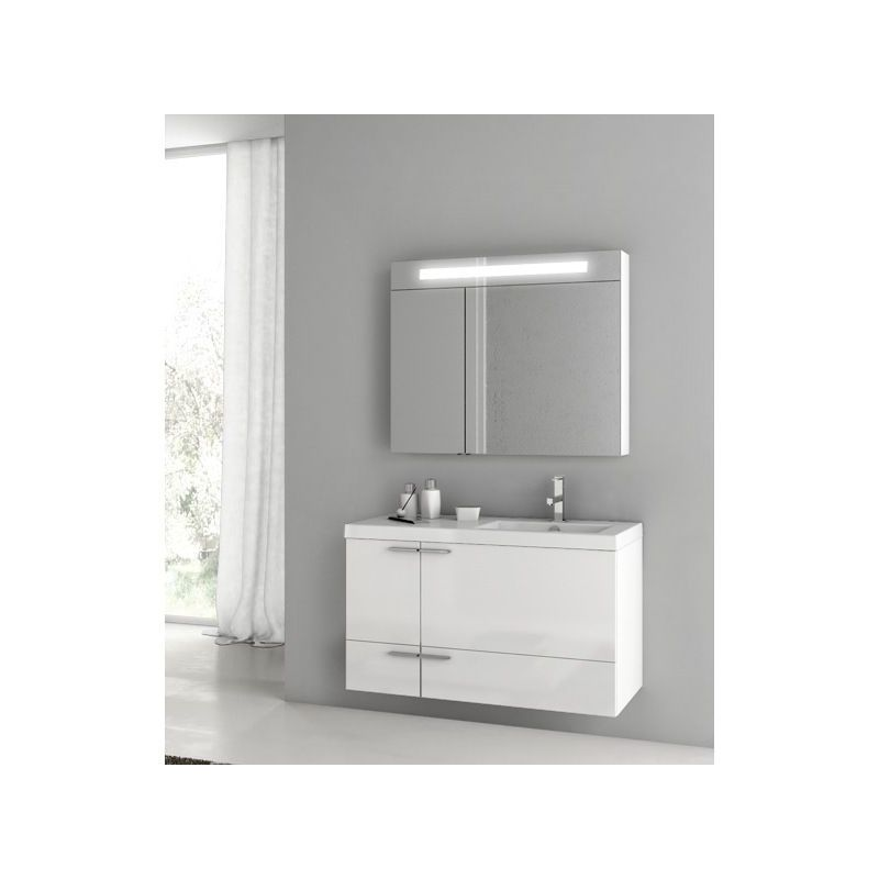 ACF by Nameeks ANS326 New Space Wall Mounted Vanity Set with Wood Cabinet, Ceram Glossy White Fixture Single