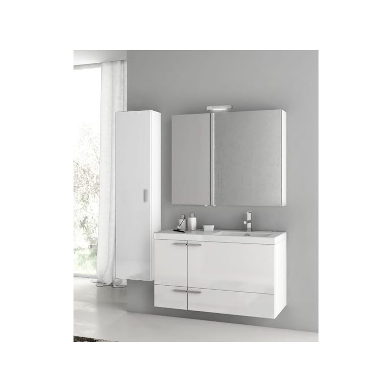 ACF by Nameeks ANS327 New Space Wall Mounted Vanity Set with Wood Cabinet, Ceram Glossy White Fixture Single
