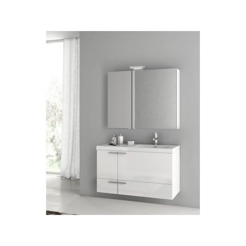 ACF by Nameeks ANS328 New Space Wall Mounted Vanity Set with Wood Cabinet, Ceram Glossy White Fixture Single