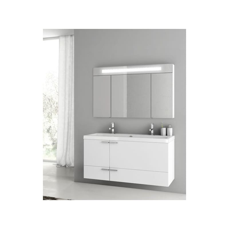 ACF by Nameeks ANS334 New Space Wall Mounted Vanity Set with Wood Cabinet, Ceram Glossy White Fixture Single