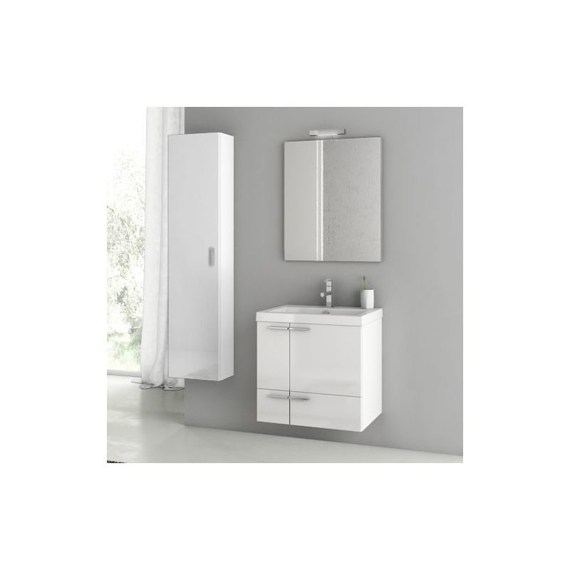 ACF by Nameeks ANS54 New Space 23-6\/15 Wall Mounted Vanity Set with Wood Cabine Glossy White Fixture Single