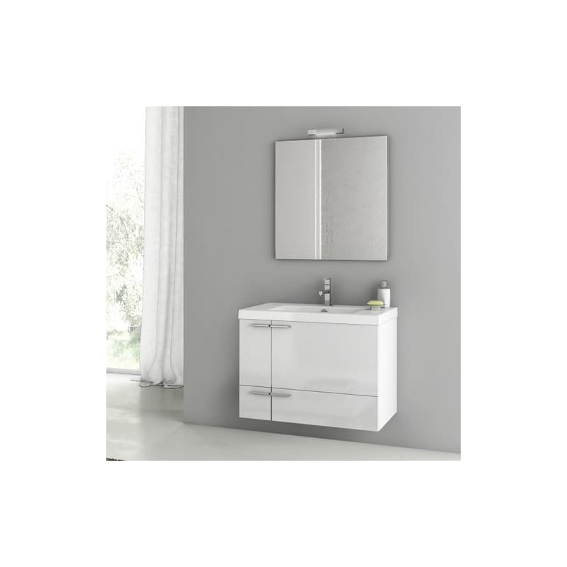 ACF by Nameeks ANS60 New Space 31-3\/10 Wall Mounted Vanity Set with Wood Cabine Glossy White Fixture Single