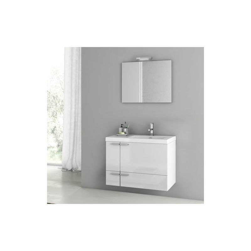 ACF by Nameeks ANS67 New Space 31-3\/10 Wall Mounted Vanity Set with Wood Cabine Glossy White Fixture Single