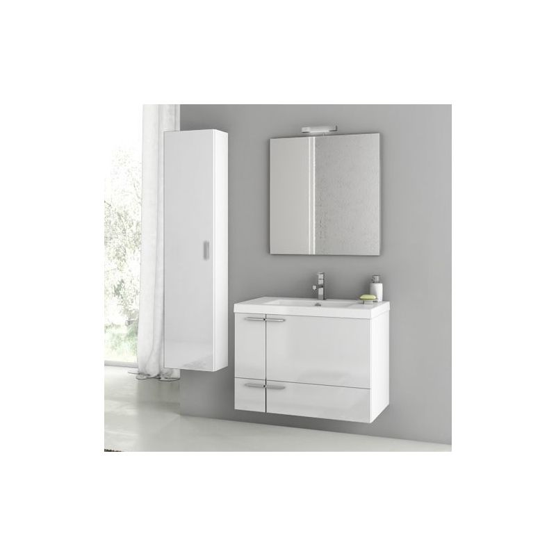 ACF by Nameeks ANS75 New Space 31-3\/10 Wall Mounted Vanity Set with Wood Cabine Glossy White Fixture Single