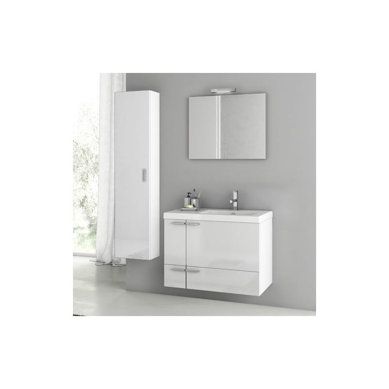 ACF by Nameeks ANS82 New Space 31-3\/10 Wall Mounted Vanity Set with Wood Cabine Glossy White Fixture Single
