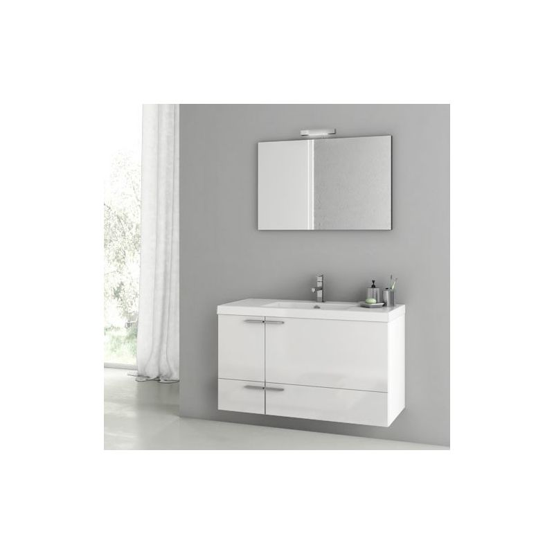 ACF by Nameeks ANS91 New Space 39-1\/5 Wall Mounted Vanity Set with Wood Cabinet Glossy White Fixture Single
