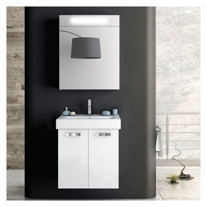 ACF by Nameeks C05 Cubical 22 Wall Mounted Vanity Set with Wood Cabinet, Cerami Glossy White Fixture Single