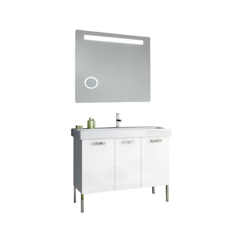 ACF by Nameeks C119 Cubical 37-6\/15 Floor Standing Vanity Set with Wood Cabinet Glossy White Fixture Single