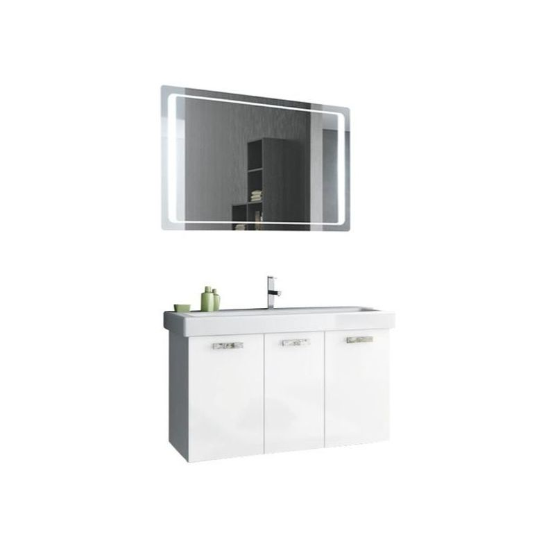 ACF by Nameeks C120 Cubical 37-6\/15 Wall Mounted Vanity Set with Wood Cabinet, Glossy White Fixture Single