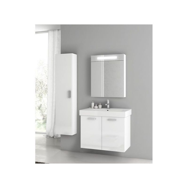 ACF by Nameeks C127 Cubical Wall Mounted Vanity Set with Wood Cabinet, Ceramic T Glossy White Fixture Single