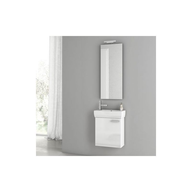 ACF by Nameeks C24 Cubical 17-3\/4 Wall Mounted Vanity Set with Wood Cabinet, Ce Glossy White Fixture Single