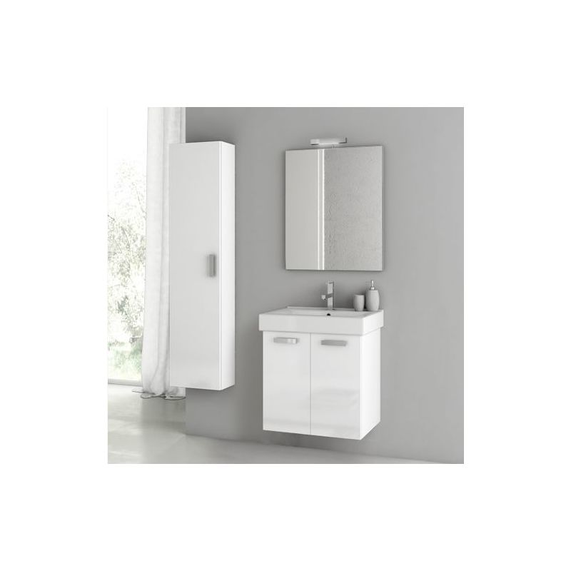 ACF by Nameeks C35 Cubical 2 23 Wall Mounted Vanity Set with Wood Cabinet, Cera Glossy White Fixture Single