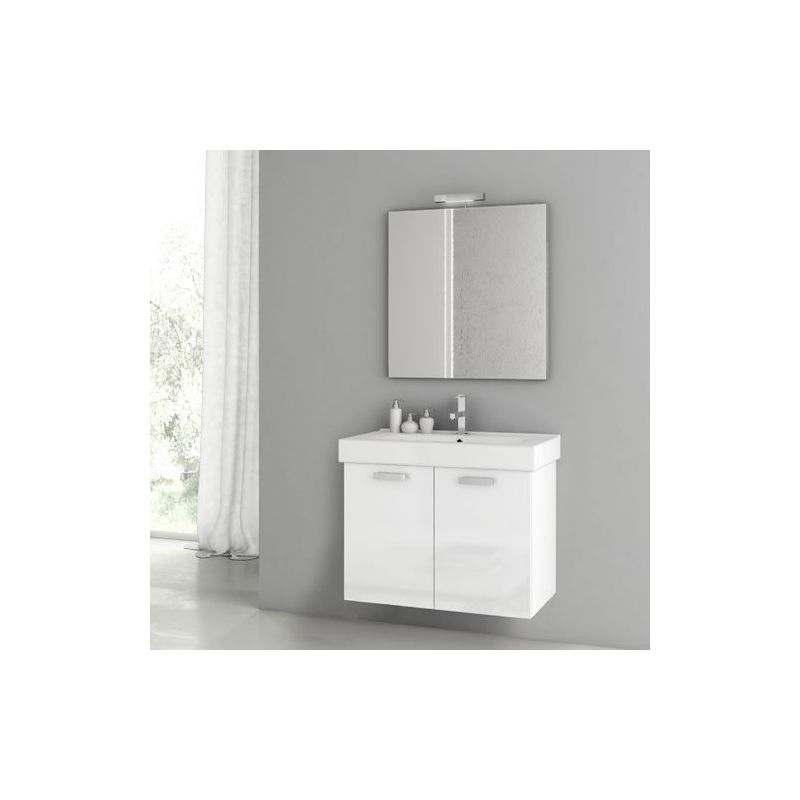 ACF by Nameeks C37 Cubical 2 27-1\/2 Wall Mounted Vanity Set with Wood Cabinet, Glossy White Fixture Single