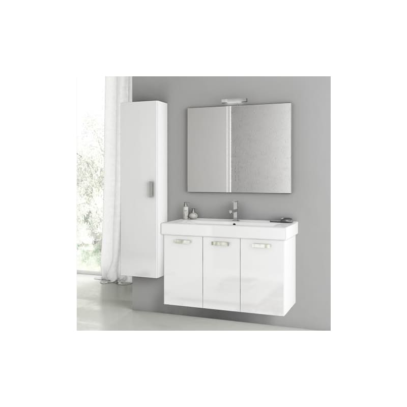 ACF by Nameeks C49 Cubical 2 39-1\/2 Wall Mounted Vanity Set with Wood Cabinet, Glossy White Fixture Single