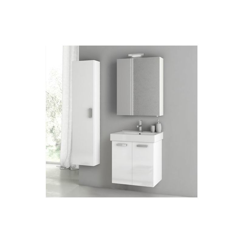 ACF by Nameeks C66 Cubical 2 23 Wall Mounted Vanity Set with Wood Cabinet, Cera Glossy White Fixture Single