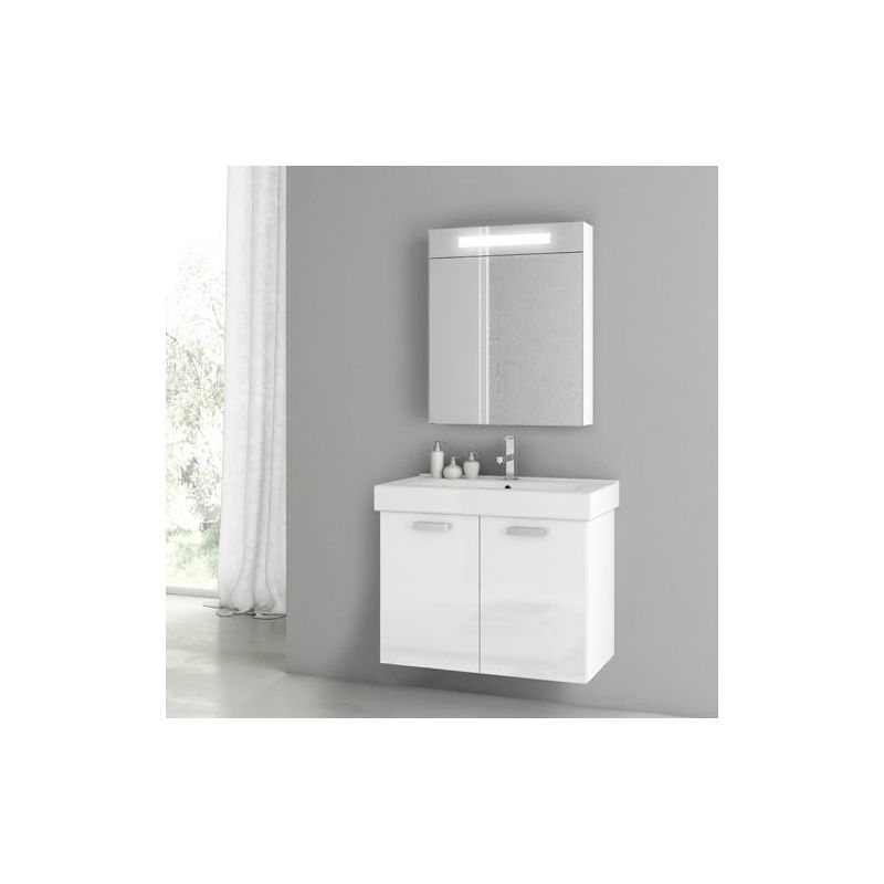 ACF by Nameeks C77 Cubical 2 27-1\/2 Wall Mounted Vanity Set with Wood Cabinet, Glossy White Fixture Single