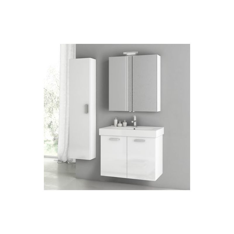 ACF by Nameeks C79 Cubical 2 27-1\/2 Wall Mounted Vanity Set with Wood Cabinet, Glossy White Fixture Single