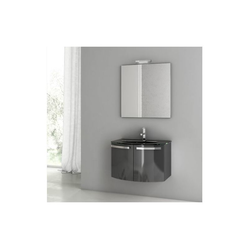 ACF by Nameeks CD07 Crystal Dance 27-3\/5 Wall Mounted Vanity Set with Wood Cabi Glossy Anthracite Fixture Single