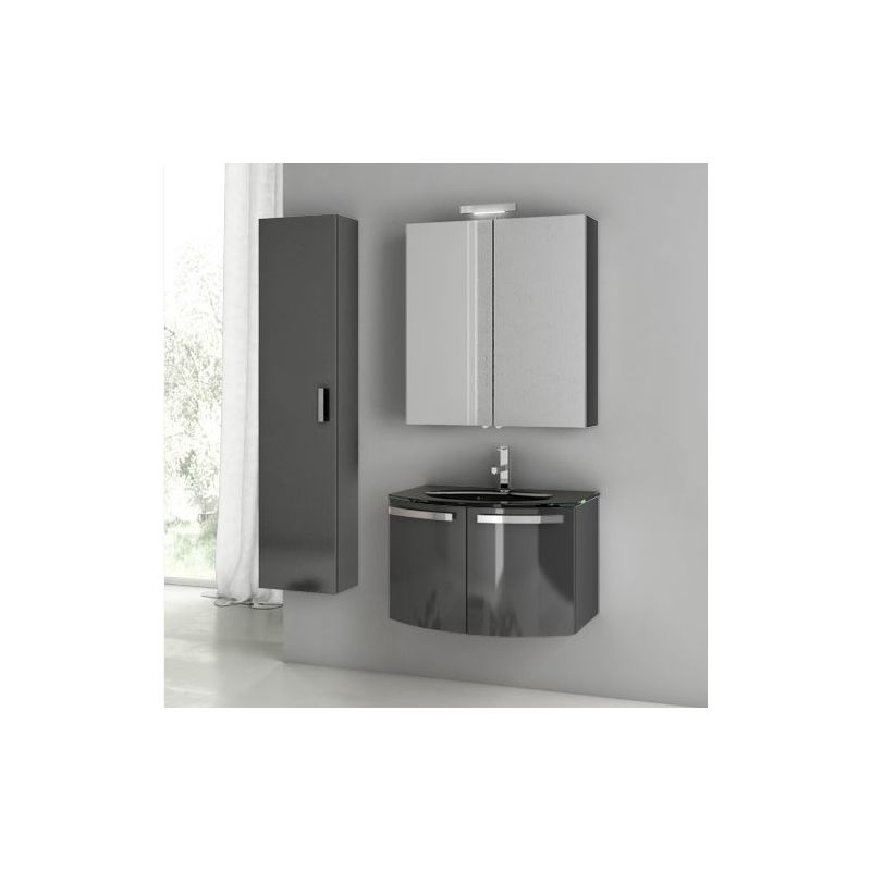 ACF by Nameeks CD10 Crystal Dance 27-3\/5 Wall Mounted Vanity Set with Wood Cabi Glossy Anthracite Fixture Single
