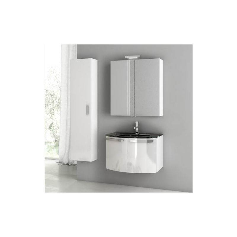 ACF by Nameeks CD12 Crystal Dance 27-3\/5 Wall Mounted Vanity Set with Wood Cabi Glossy White Fixture Single