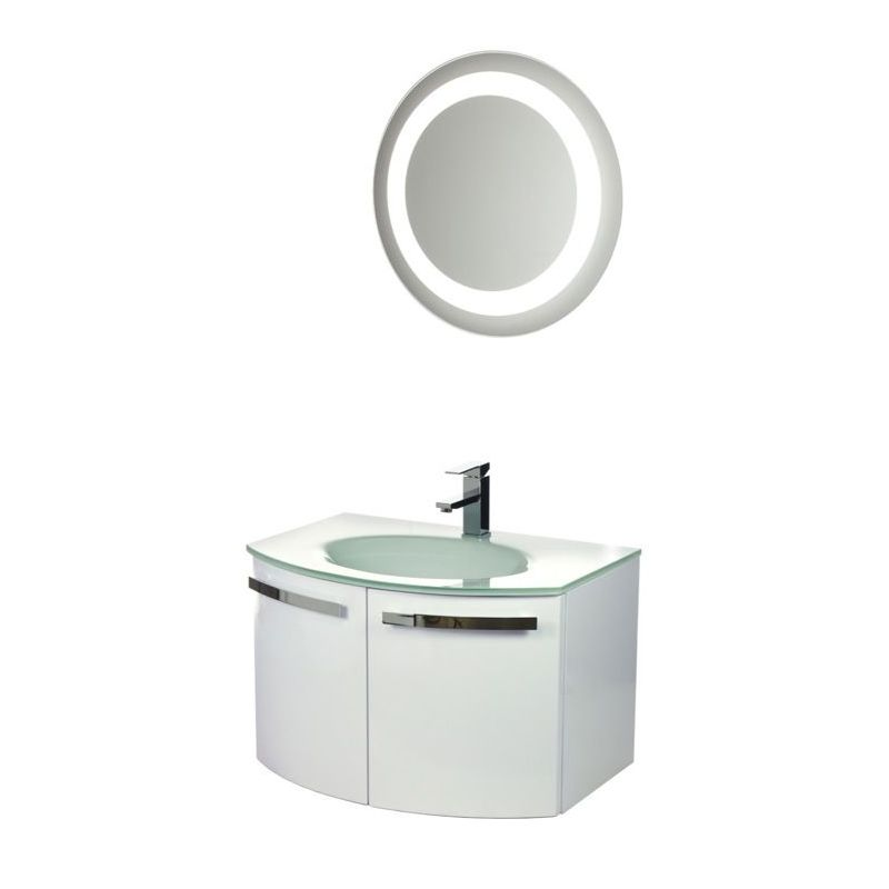 ACF by Nameeks CD15 Crystal Dance 27-3\/5 Wall Mounted Vanity Set with Wood Cabi Glossy White Fixture Single