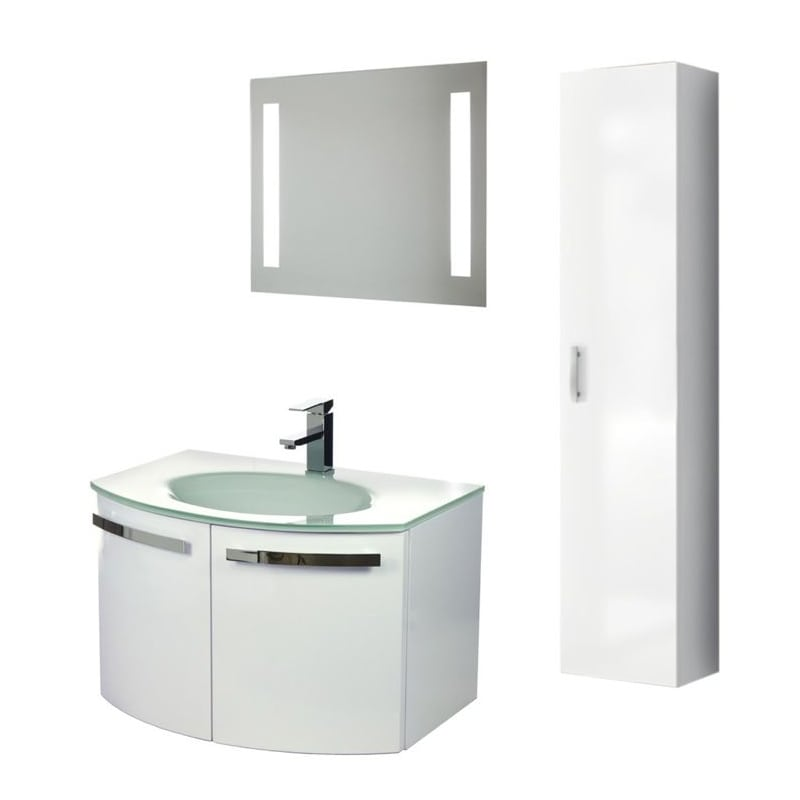 ACF by Nameeks CD17 Crystal Dance 27-3\/5 Wall Mounted Vanity Set with Wood Cabi Glossy White Fixture Single
