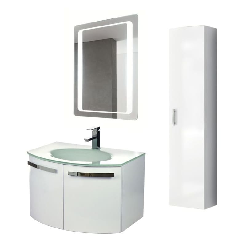 ACF by Nameeks CD18 Crystal Dance 27-3\/5 Wall Mounted Vanity Set with Wood Cabi Glossy White Fixture Single