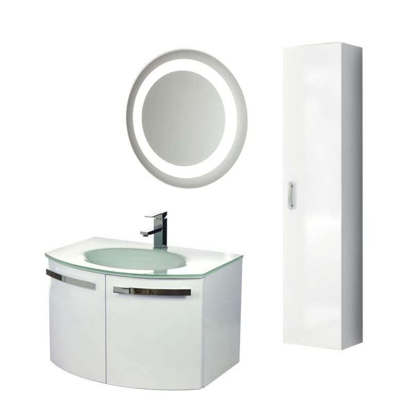 ACF by Nameeks CD19 Crystal Dance 27-3\/5 Wall Mounted Vanity Set with Wood Cabi Glossy White Fixture Single