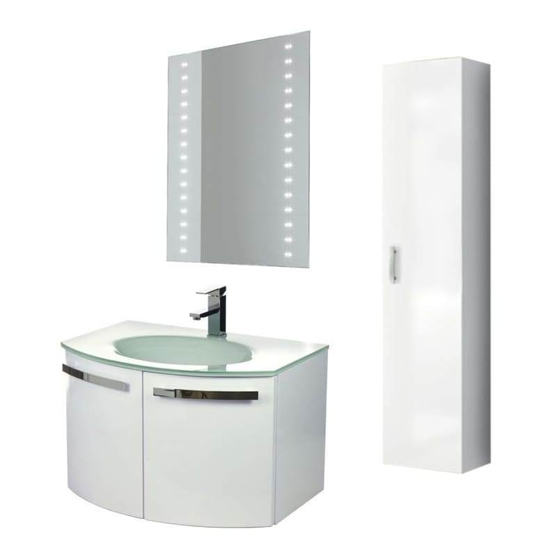 ACF by Nameeks CD20 Crystal Dance 27-3\/5 Wall Mounted Vanity Set with Wood Cabi Glossy White Fixture Single