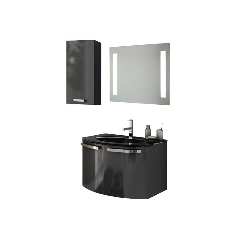ACF by Nameeks CD21 Crystal Dance 27-3\/5 Wall Mounted Vanity Set with Wood Cabi Glossy Anthracite Fixture Single