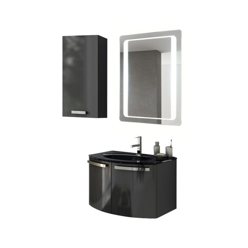 ACF by Nameeks CD22 Crystal Dance 27-3\/5 Wall Mounted Vanity Set with Wood Cabi Glossy Anthracite Fixture Single
