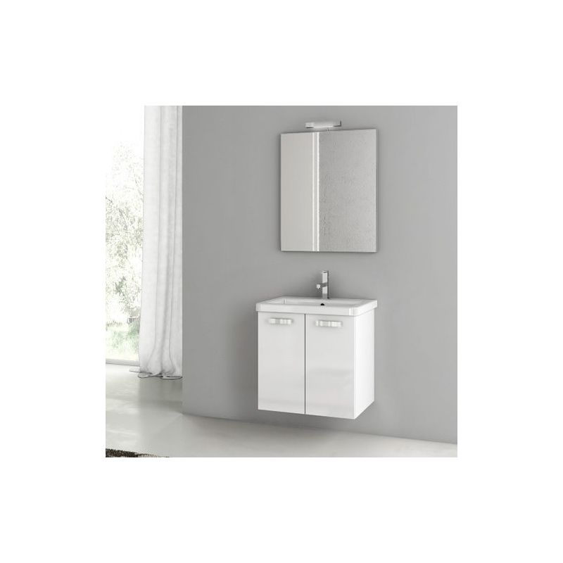 ACF by Nameeks CP01 City Play 22 Wall Mounted Vanity Set with Wood Cabinet, Cer Glossy White Fixture Single