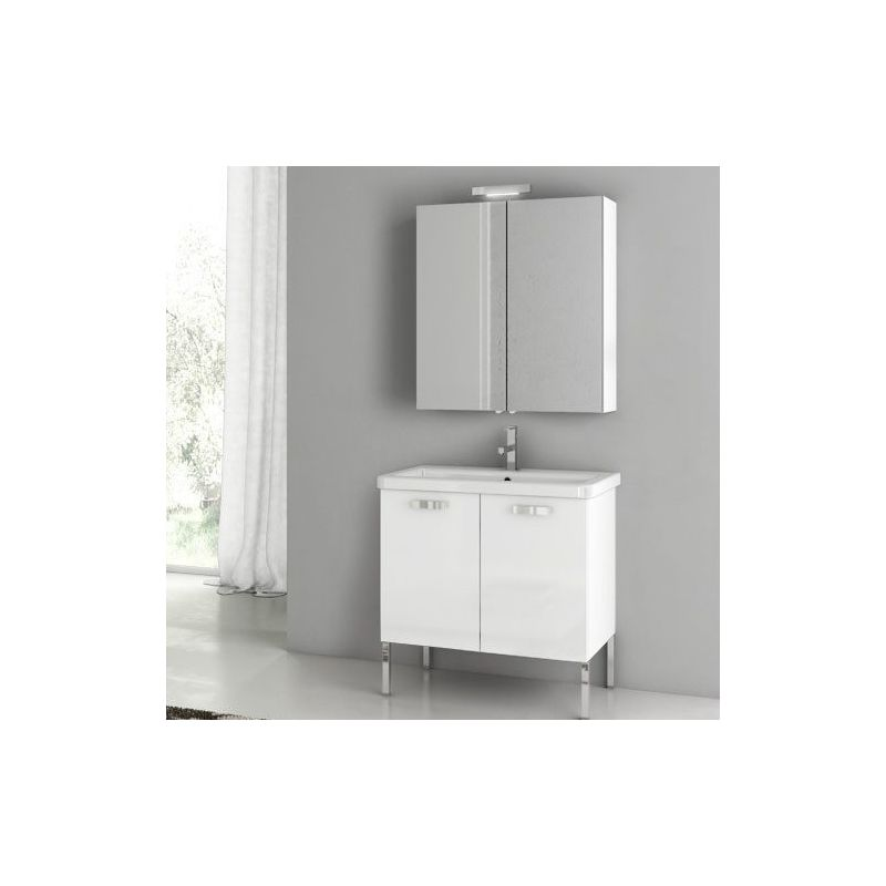 ACF by Nameeks CP04 City Play 30 Floor Standing Vanity Set with Wood Cabinet, C Glossy White Fixture Single