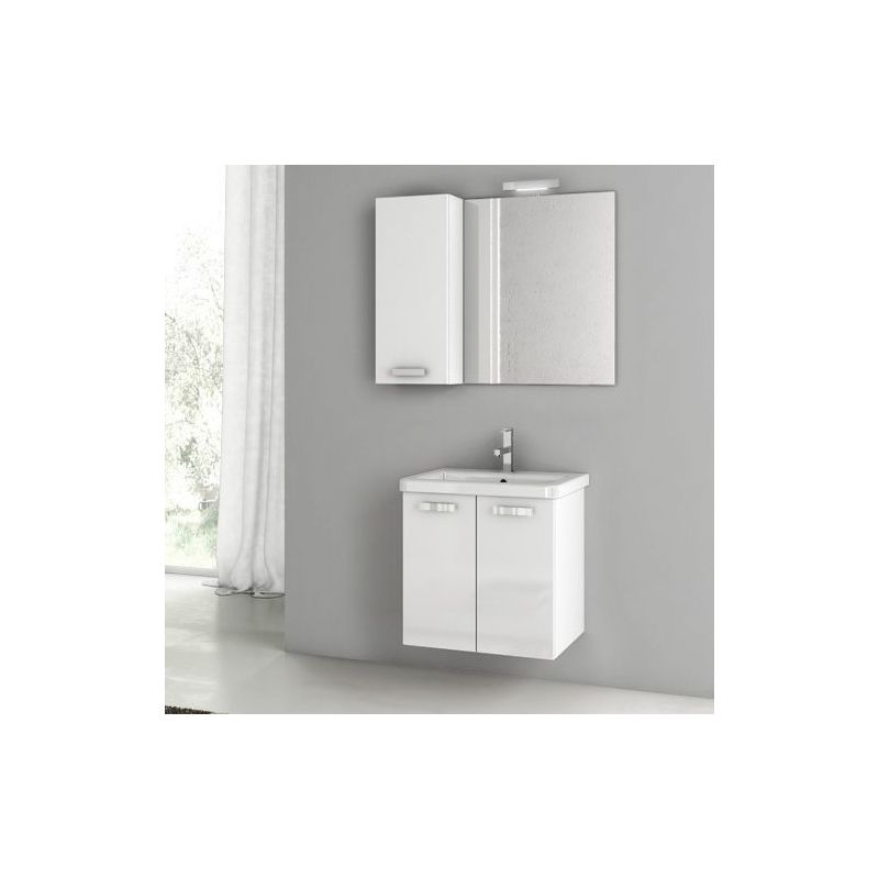 ACF by Nameeks CP06 City Play 22 Wall Mounted Vanity Set with Wood Cabinet, Cer Glossy White Fixture Single