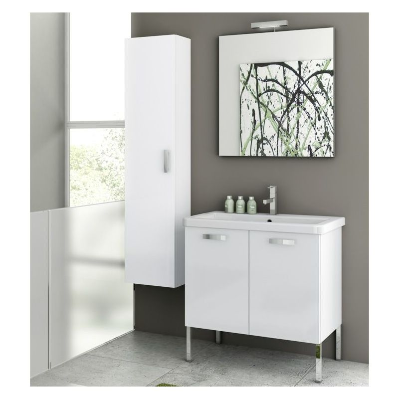 ACF by Nameeks CP07 City Play 30 Floor Standing Vanity Set with Wood Cabinet, C Glossy White Fixture Single