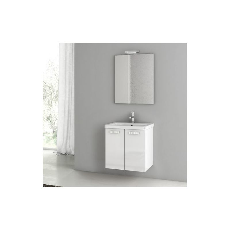 ACF by Nameeks CP15 City Play 22 Wall Mounted Vanity Set with Wood Cabinet, Cer Glossy White Fixture Single