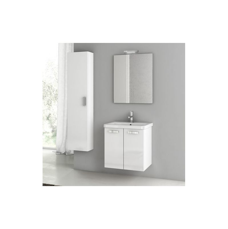 ACF by Nameeks CP18 City Play 22 Wall Mounted Vanity Set with Wood Cabinet, Cer Glossy White Fixture Single