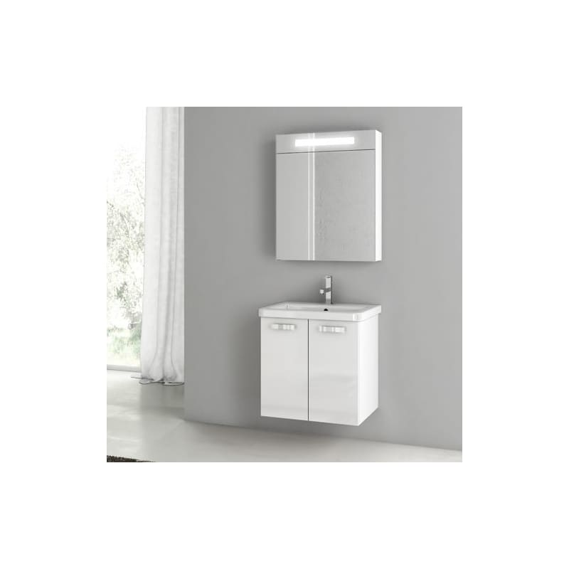 ACF by Nameeks CP45 City Play 22 Wall Mounted Vanity Set with Wood Cabinet, Cer Glossy White Fixture Single